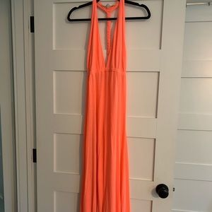 Lovers & friends low cut maxi dress, braided back